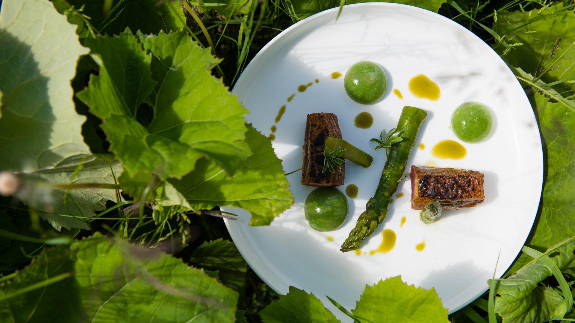 La Canette, Asperges vertes glacées au sel Matcha, Perle épinard saké, Eponge d'ortie